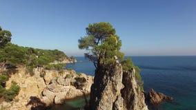 Unspoiled Mediterranean Seaside Beach Aerial Shoot stock footage