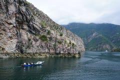 Unspoiled places. Komani lake in Albania, river transportation. Fishing and transport on Valbona river Stock Photo