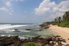 Unspoiled tropikalni plaża krajobrazy w Sri Lanka obrazy royalty free