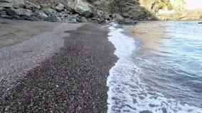 Unspoiled Virgin Mediterranean Black Beach Aerial Shoot stock footage