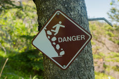 Unstable cliff sign Stock Photo