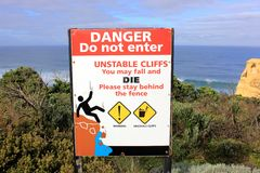Unstable cliffs danger sign Stock Images