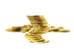 Unstable column of coins Stock Photo