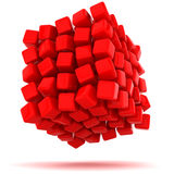 Unstable cube. Big red cube falling apart Stock Photo