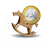 Unstable currency. Vector illustration of coin euro riding the wooden horse Stock Photography