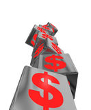 Unstable economic red. An unstable pile of block with red money symbols Stock Photos