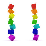 Unstable pyramids. Falling pyramids from toy cubes isolated on the white background Stock Photos