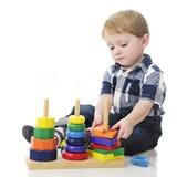 Unstacking het Stapelstuk speelgoed Royalty-vrije Stock Foto's