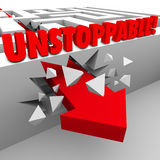 Unstoppable Arrow Through Maze Wall Nonstop Energy Power Royalty Free Stock Photo