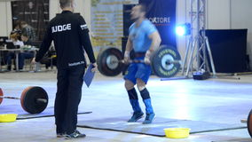 Unsuccessful attempt. Novosibirsk, Russia - November 16, 2014: International crossfit competition Siberian Showdown in the Novosibirsk ExpoCenter. The stock video footage