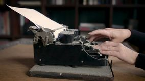 Unsuccessful attempt to type on an old vintage dust-covered typewriter.  stock video footage