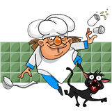 Unsuccessful cartoon cook stumbles on a black cat and loses salt Royalty Free Stock Photos