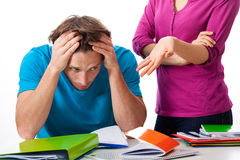 Unsuccessful student with his teacher royalty free stock photo