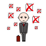 Unsuccsesful man in suit with suitcase. Illustration of unsuccsesful man in suit with suitcase with fail sign checkboxes above him Stock Image