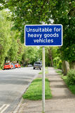 Unsuitable for heavy goods vehicles sign Royalty Free Stock Images