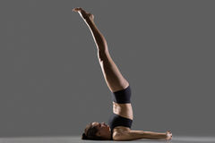 Unsupported Shoulder stand yoga pose Royalty Free Stock Photo