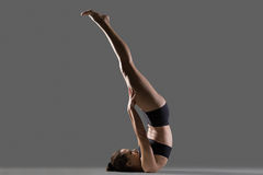 Unsupported Shoulderstand yoga pose Stock Image