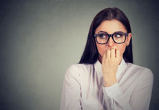 Free Unsure Anxious Woman Biting Her Fingernails Craving For Something Stock Image - 92268651