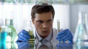 Unsure scientist looking at chemical substance in test tube waiting for reaction. Stock photo royalty free stock photos