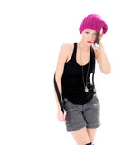 Unsure and upset young beauty woman. In pink hat Stock Image