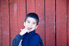 Unsure and Wondering Little Boy Royalty Free Stock Photography