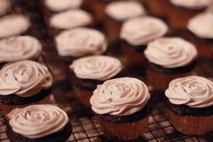 Unte con mantequilla las magdalenas heladas crema en el estante - aliste para el partido/la celebración Imagenes de archivo