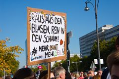 #unteilbar demonstration in berlin, germany royalty free stock photo