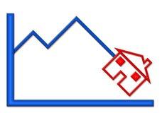Unten Diagramm mit Haus-Abbildung Stockfotos