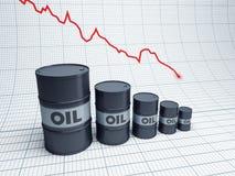 Unten fallen Ölbarrel Lizenzfreie Stockbilder