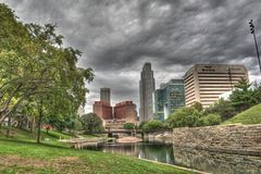 Unten Stadt Omaha Nebraska Lizenzfreie Stockbilder