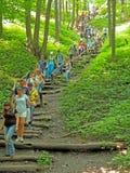 Unten Treppe auf einer Steigung Stockfotos