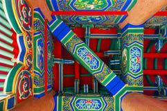Unter Dach des chinesischen Tempels Stockfoto