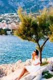 Unter dem Baum an der Küste in Makarska, Kroatien Stockbild