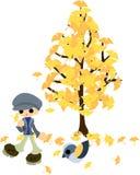 Unter dem Baum von Ginkgo Lizenzfreie Stockfotografie