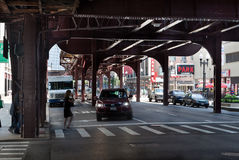 Unter dem EL Chicago Stockbilder