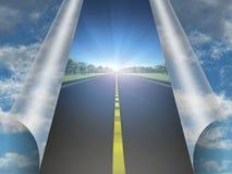 Unter dem Himmelweg zur Zukunft Stockfoto