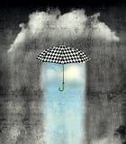 Unter dem Regenschirm ist das Wetter wunderbar lizenzfreie abbildung