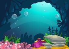 Unter dem Seehintergrund Stockbild