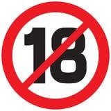 Unter dem Symbol mit achtzehn Verboten Stockfotografie