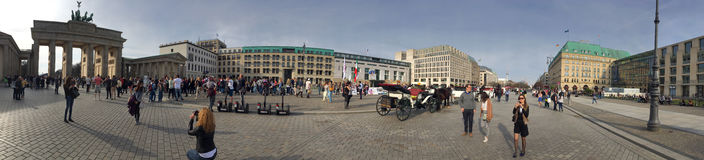 Unter den Linden avenue panorama, Berlin Royalty Free Stock Images
