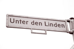 Unter den Linden Street Sign, Berlin Stock Image