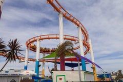 Unter der Achterbahn auf Santa Monica Pier Lizenzfreies Stockbild