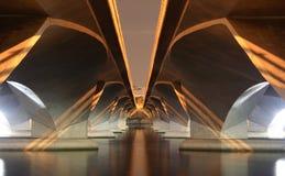 Unter einer modernen Brücke Stockfotografie