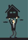 Unter Finanzdruck der Hypothekendarlehen-Vektor-Illustration Stockfotos
