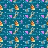 Unter nahtlosem Muster der Wasserdesign-Fische lizenzfreie abbildung