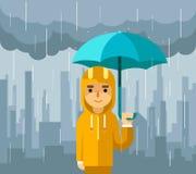 Unter Regen mit Regenschirm Mannvektorillustration vektor abbildung