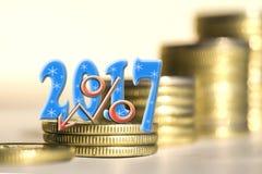 2017 unter Stangenmünzen Lizenzfreie Stockbilder