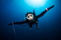 Unter Wasser fliegen Stockfoto