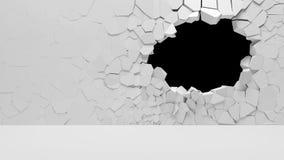 Unterbrochene Betonmauer Stockbild