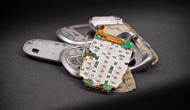 Unterbrochene Handy-Teile Stockfoto